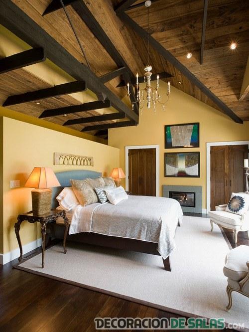paredes en color para dormitorio rústico