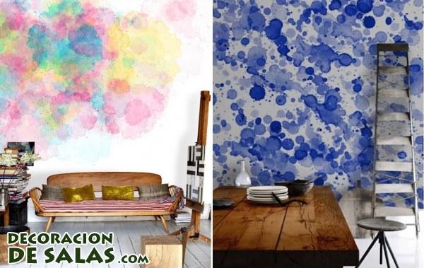 Paredes pintadas con acuarelas - Pintura de pizarra para paredes ...