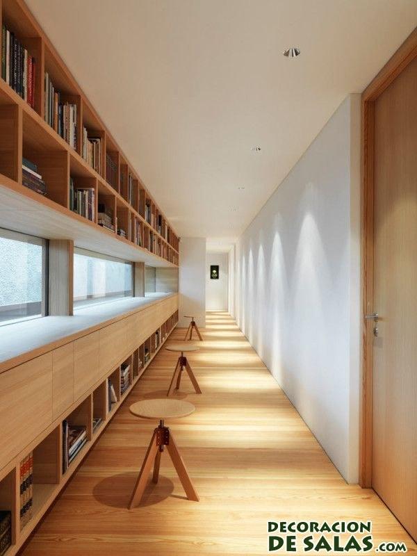Decora un pasillo largo con librer as for A peter james salon