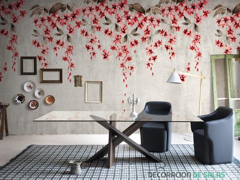 Revestimientos florales para decorar tu casa Revestimiento para paredes dormitorios