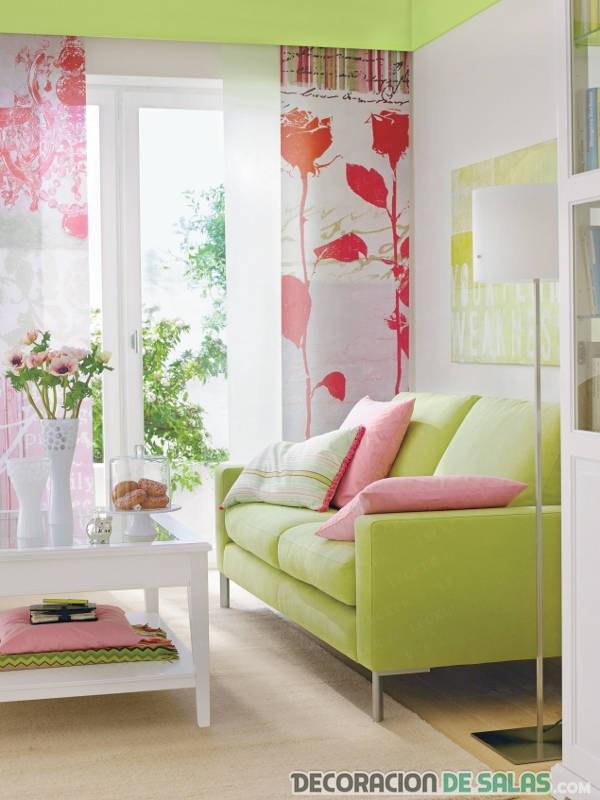 sala de estar en colores pastel