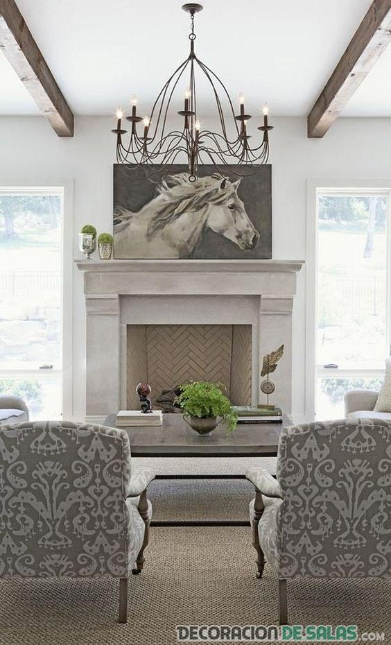 sala decorada con blanco y gris