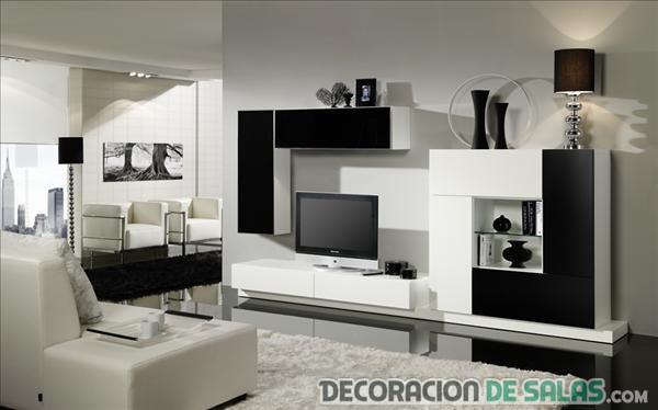 sala decorada en blanco y negro