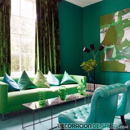 sala decorada en color azul