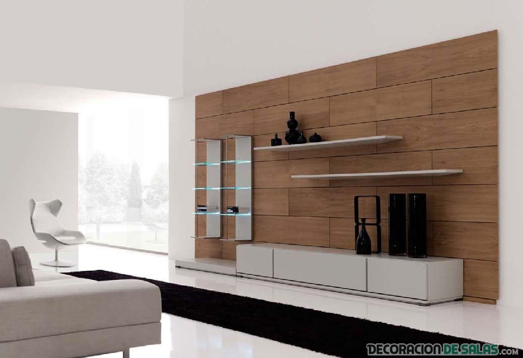 sala elegante minimalista con panel de madera