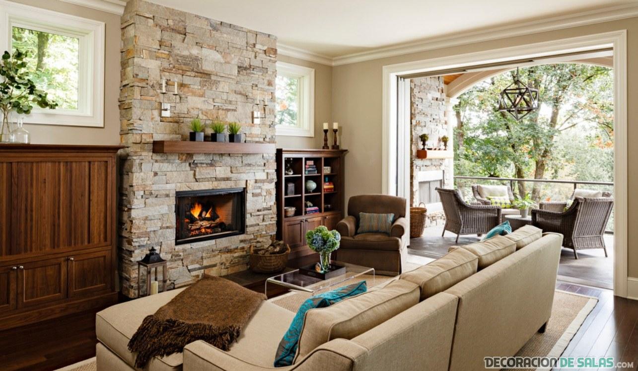 sala grande decorada con piedra