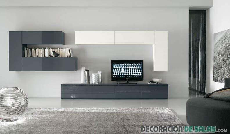 sala minimalista con mueble blanco y gris