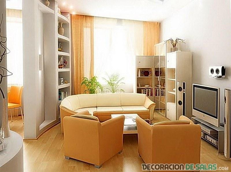 sala pequeña con cómodos sofás