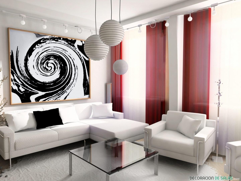 sala pequeña con sofás en blanco