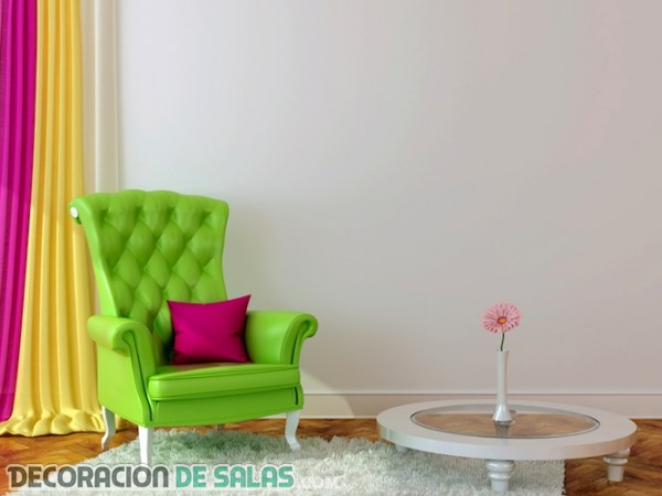 Decoración de interiores en colores flúor