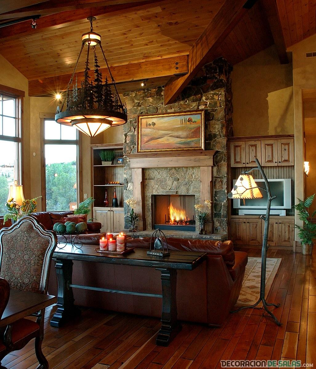 Rustic Open Kitchen Plans: Salas Rústicas Con Todo Lujo De Detalles