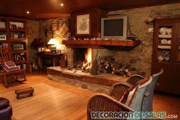 salas con decoración rústica moderna