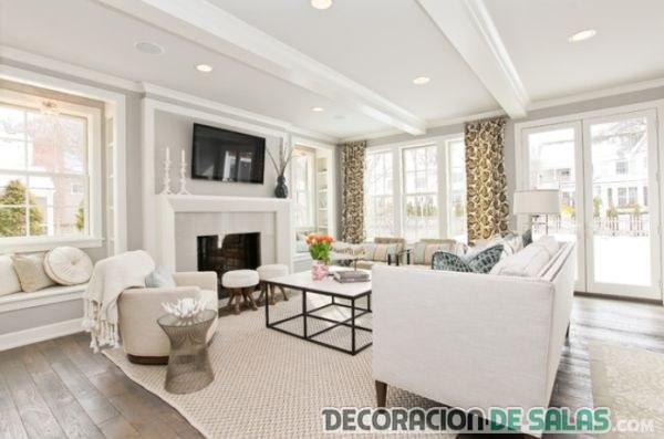 salón amplio elegante en color blanco