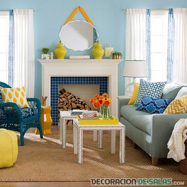 salón azul combinado en colores