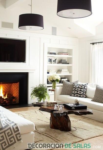 salón blanco con lámparas en negro