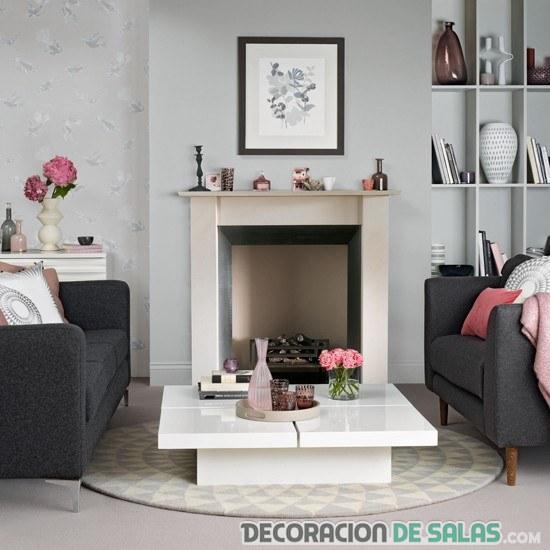 salón chimenea blanco y gris