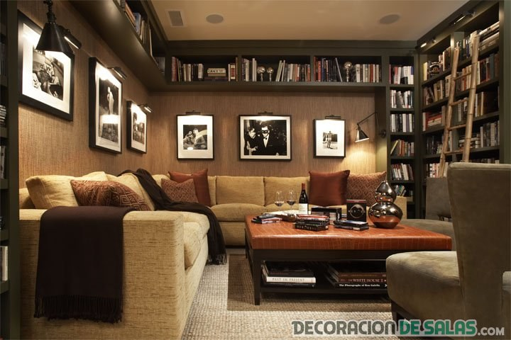 salón clásico con librería