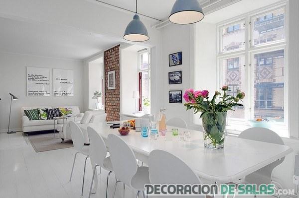 Good Salón Comedor Con Paredes En Blanco