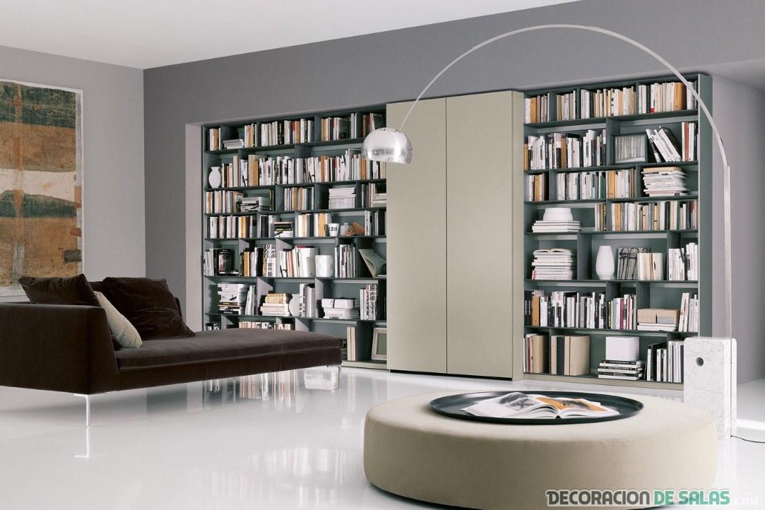 salón con biblioteca en blanco