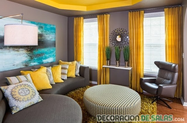 El gris y el amarillo para decorar nuestro hogar for Color de sofa para pared gris