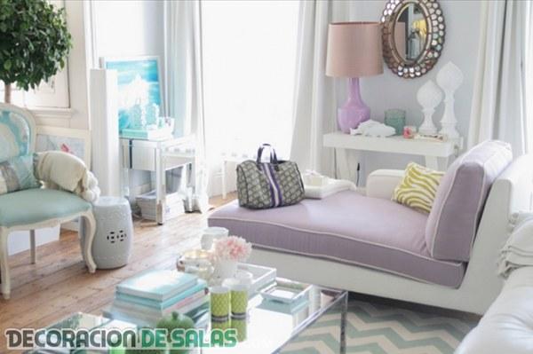 Interiores con decoración en colores pastel