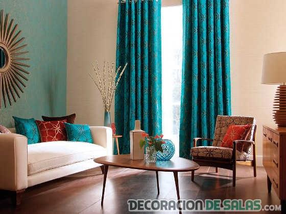 Cortinas azules para dormitorios y salones for Cortinas salon marron