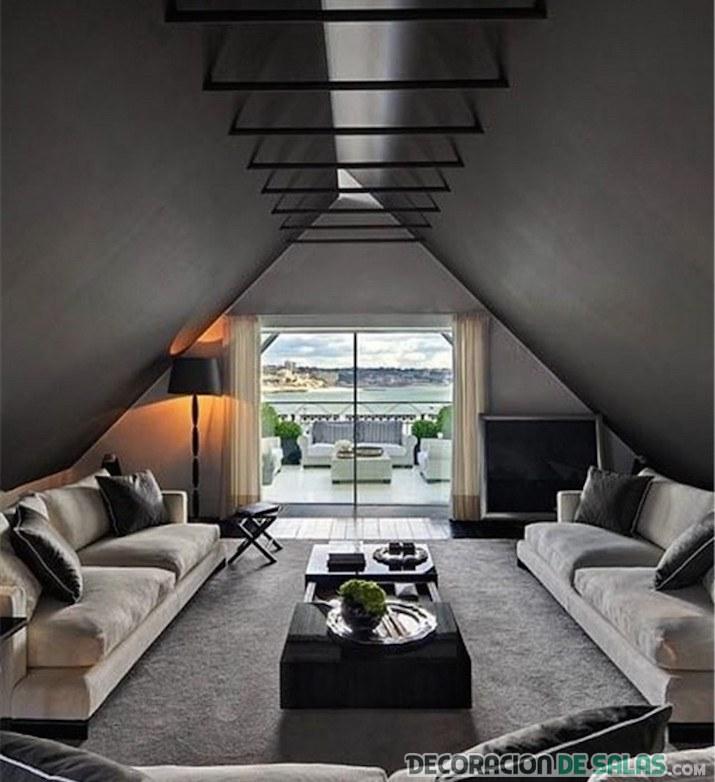 salón con doble sofá de terciopelo