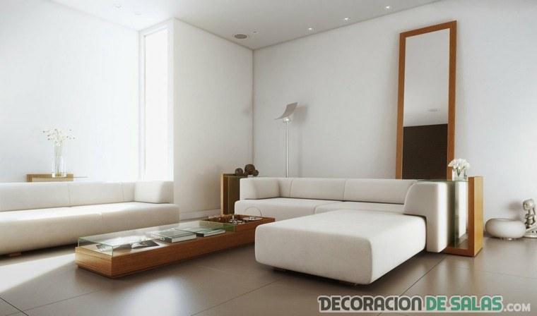 salón con estilo minimal y muebles madera