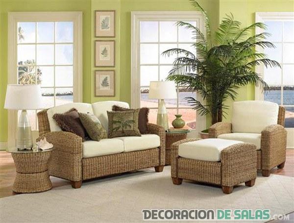 salón con muebles de mimbre