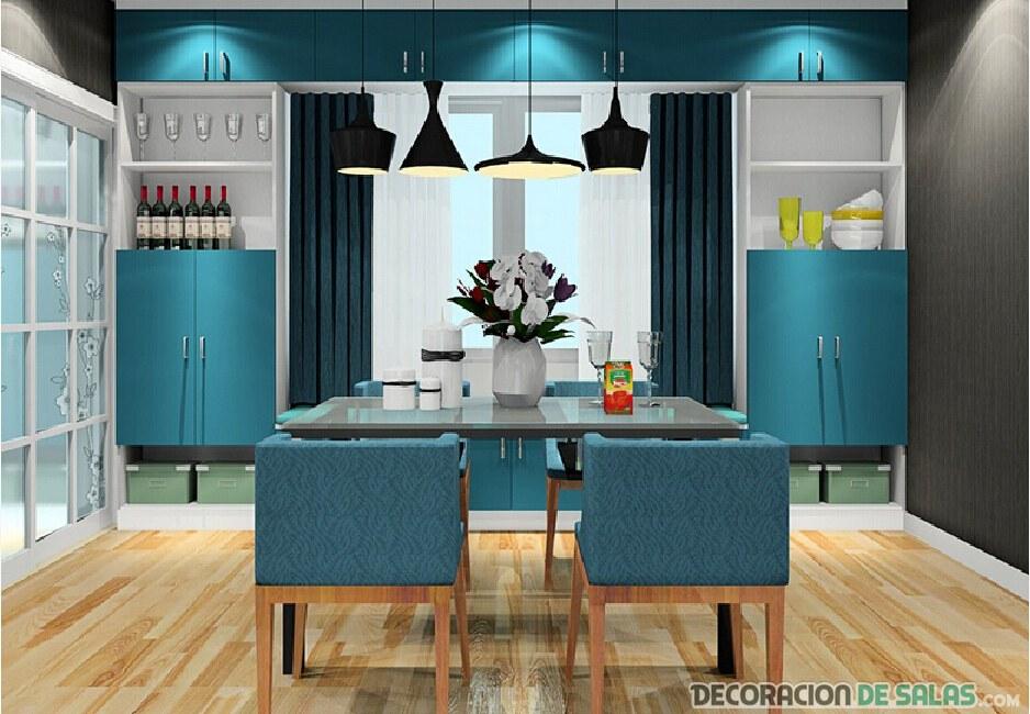 5 comedores que apuestan por el color azul for Sillas comedor turquesa