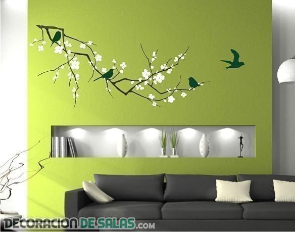 Salones modernos decorados con vinilos for Vinilos pared modernos