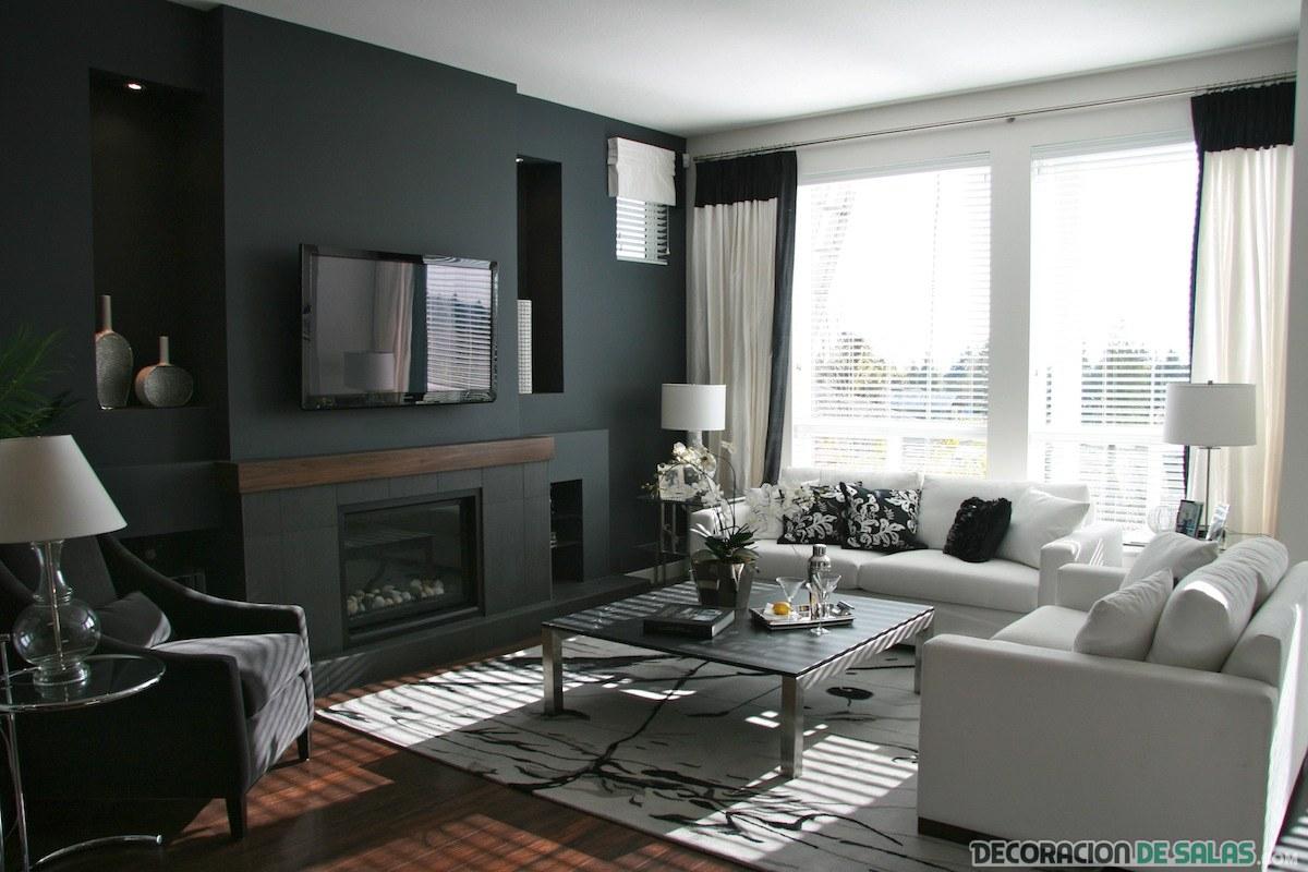salón con pared oscura