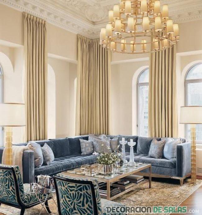 Salones con sof s de terciopelo - Sofa terciopelo azul ...