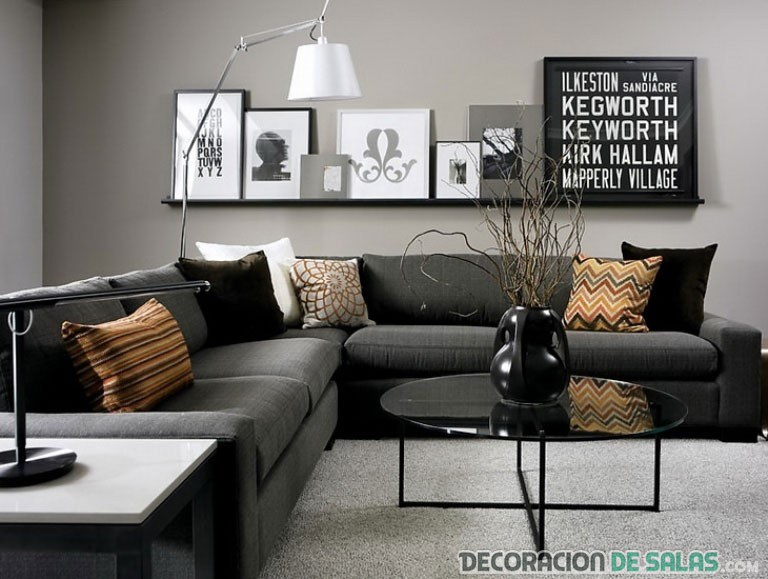 salón elegante en colores grises