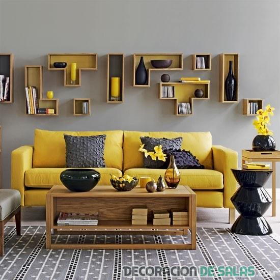 salón en amarillo y gris
