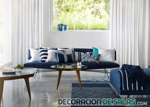 salón en azul tonos fríos