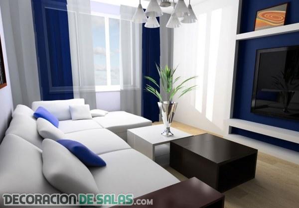 Salones con decoraci n en azul y blanco - Decoracion salones en blanco ...