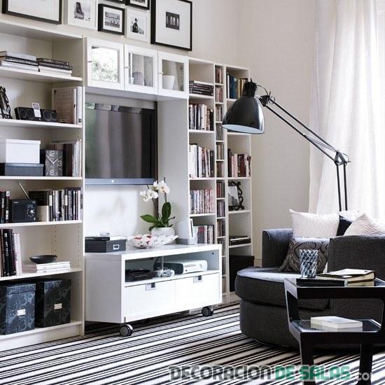 salón en color negro y blanco