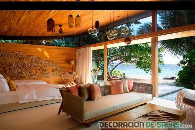 salón en dormitorio tropical