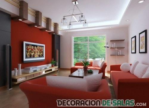 Deja que entre el color rojo a tu sal n - Salon con sofa rojo ...