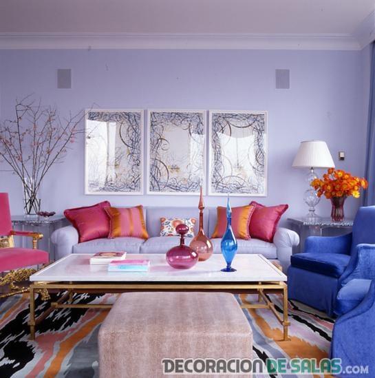 salón en rosa y azul