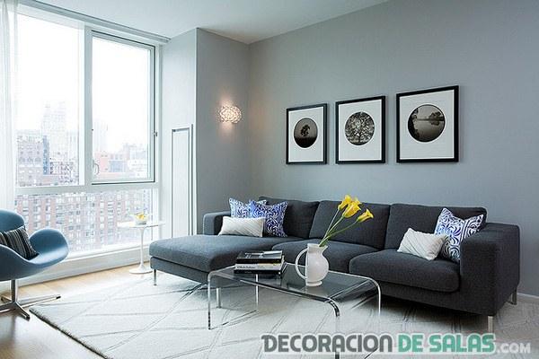 salón en tonalidades de grises