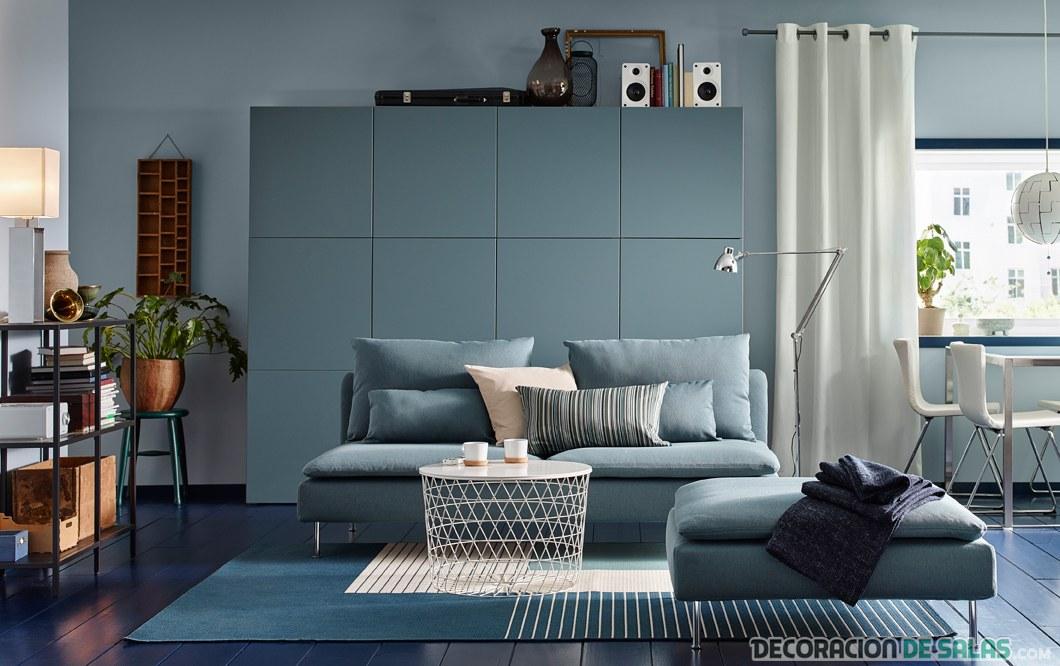 salón grande en color azul de ikea