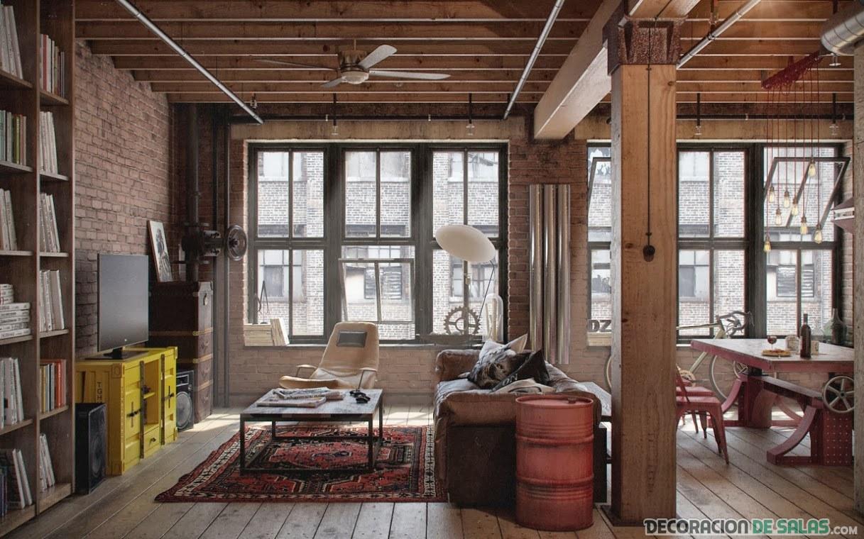 salón industrial con madera