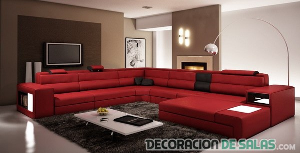 5 salones modernos con sof s en color rojo Decoracion salon marron