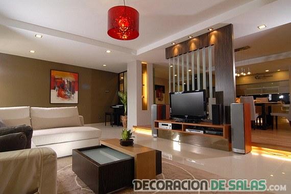 salón marrón moderno acogedor