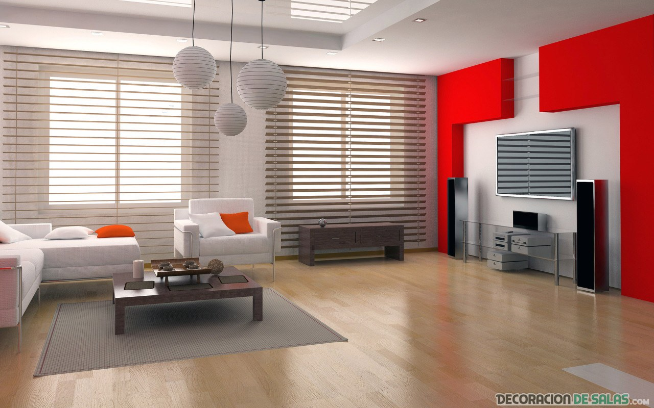 salón moderno con pared en color rojo