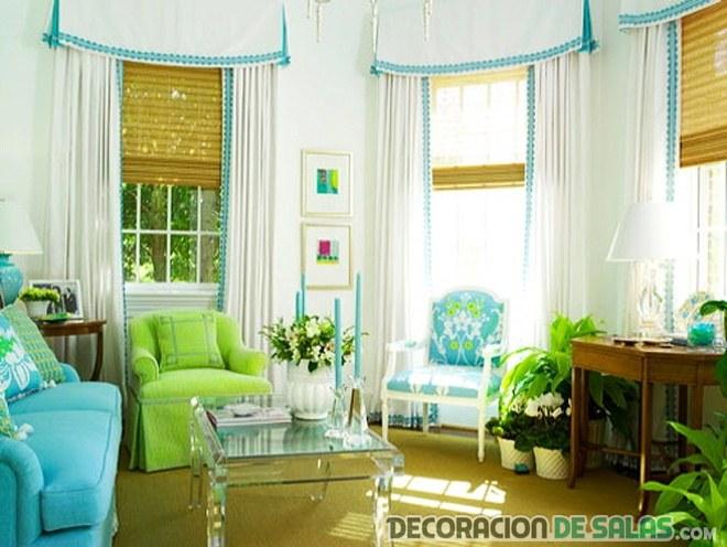 salón moderno en verde y azul