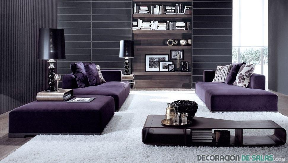 salón moderno sofás en morado