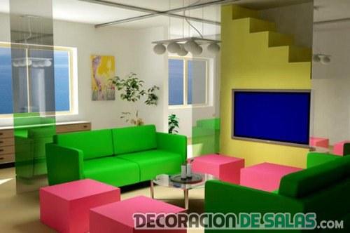 salón neón combinado de sofás